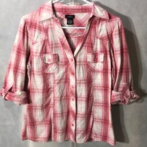 5 for $25-pink and white plaid shirt